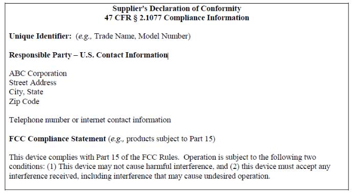 FCC SDOC简易模板